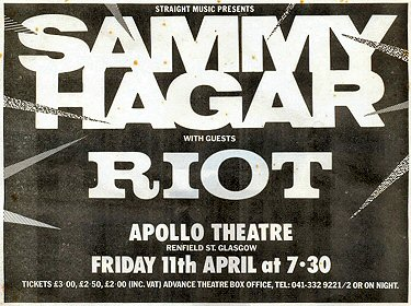 <P>Advert for Sammy Hagar and Riot gig on Friday the 11th April 1980.</P>