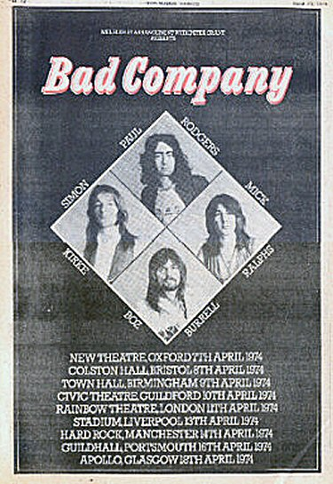 Bad Company 1974 Tour Advert from the NME