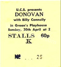 Benefit gig for striking Upper Clyde Shipbuilders - Donovan - Billy Connolly - Darryl Adams - Gallagher And Lyle - Greenmantle - JSD Band - 30/04/1972
