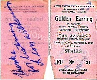 Golden Earring show ticket Glasgow - Apollo November 14, 1974