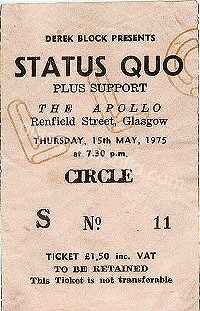 Status Quo - The Pretty Things - 15/05/1975