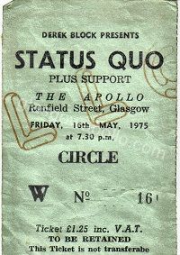 Status Quo - The Pretty Things - 16/05/1975
